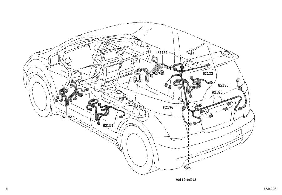 Scion XA Wire, floor. Wiring, engine, electrical