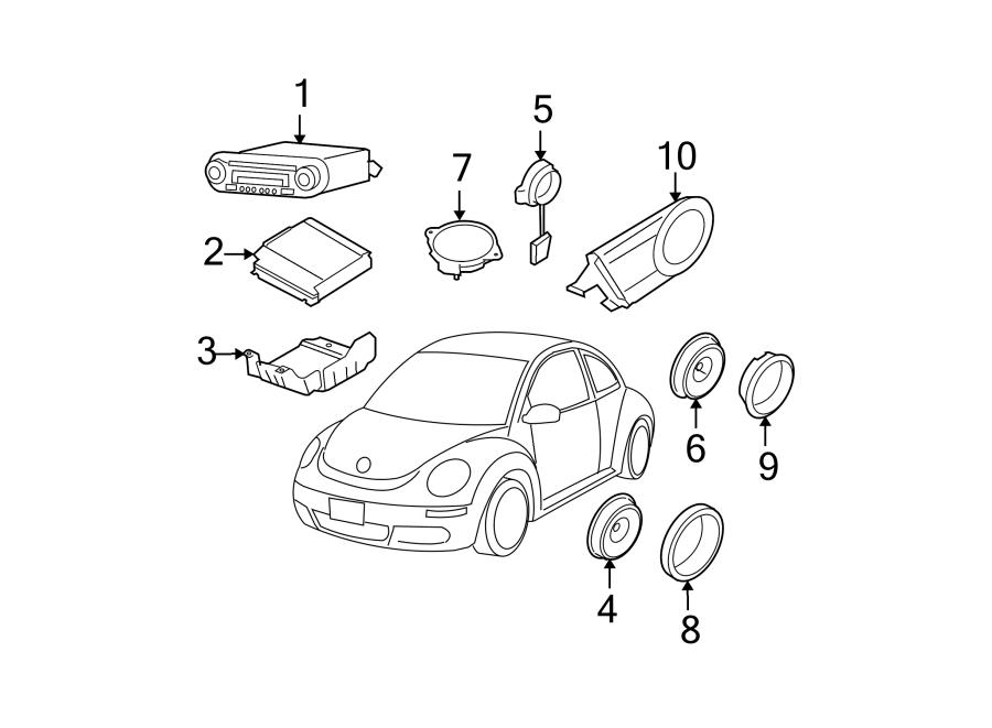 2001 Volkswagen Beetle Sport Radio Speaker Bracket (Rear