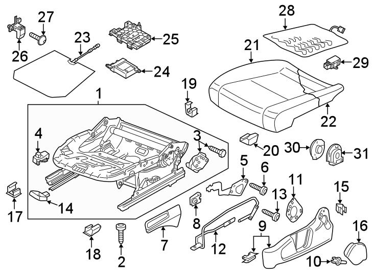 Volkswagen Passat Seat Back Recliner Adjustment Handle