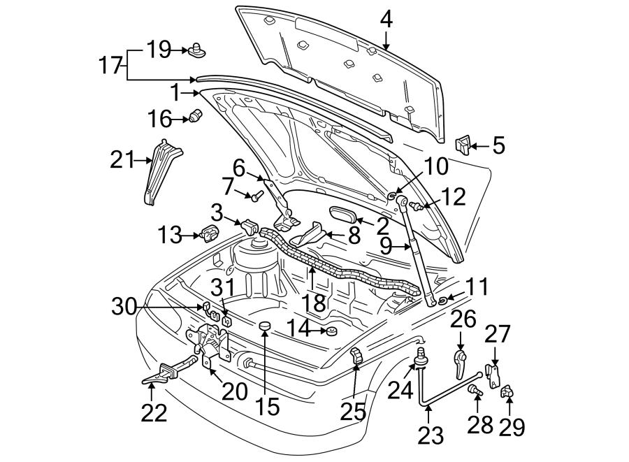 Volkswagen Jetta Windshield Washer Nozzle Cover. Hood Plug