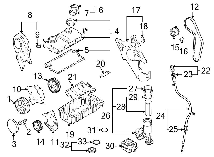 Volkswagen Jetta Engine Valve Cover Gasket. 1.9 LITER