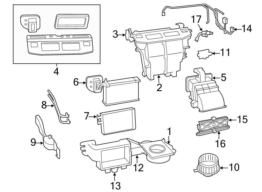 Volkswagen Routan Hvac system wiring harness. Front, w