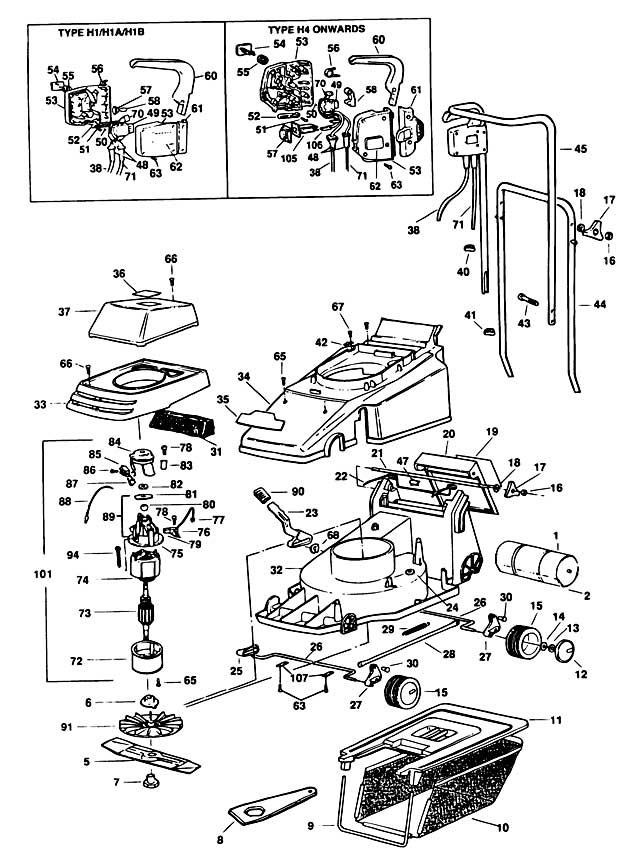 Black & Decker GR360 Type 1 Rotary Mower Spare Parts