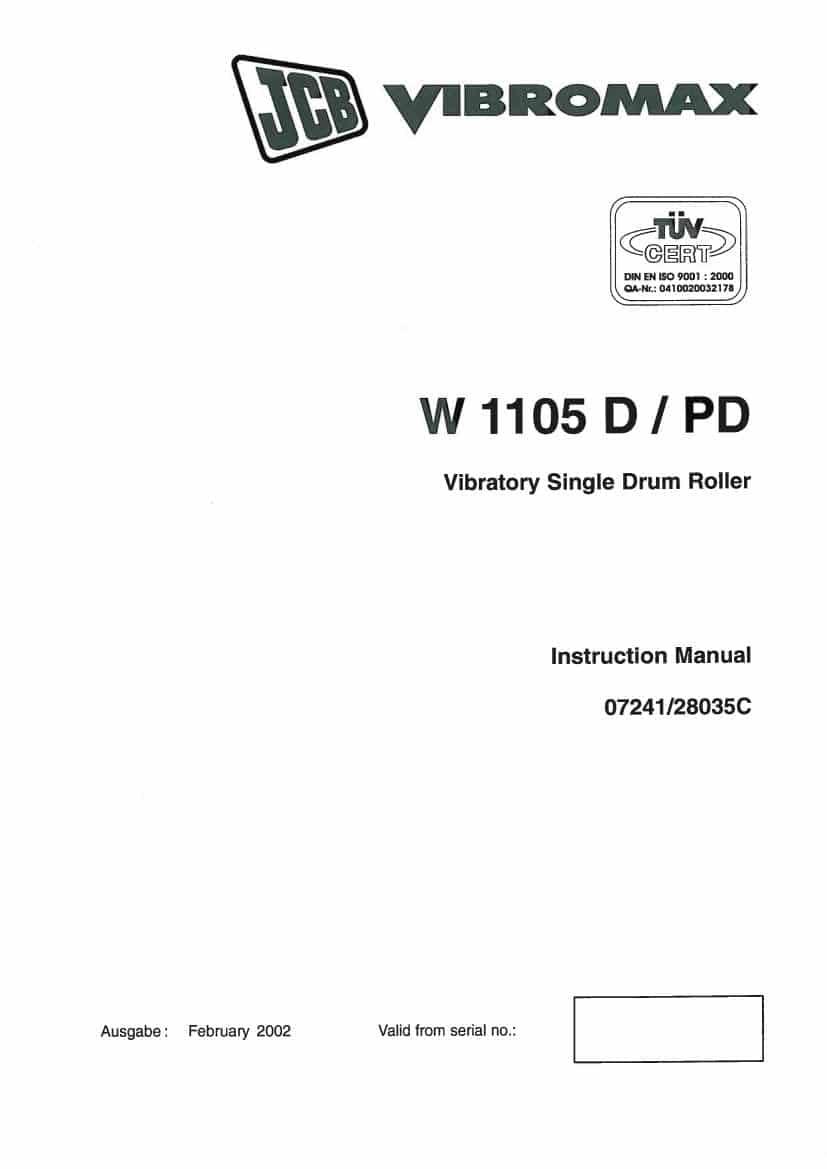 Vibratory Single Drum Roller W1105D/PD (Instruction Manual)