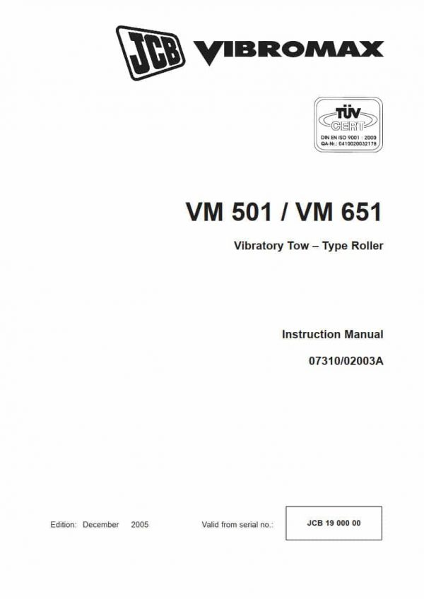 Vibratory Tow-Type Roller VM501/651 (Instruction Manual)
