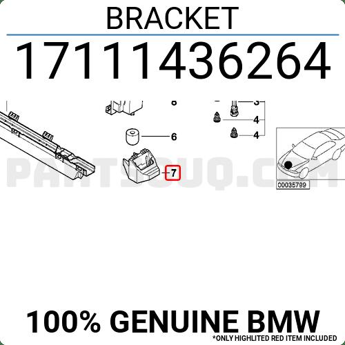 17111436264 BMW BRACKET Price: 5.75$, Weight: 0.09kg