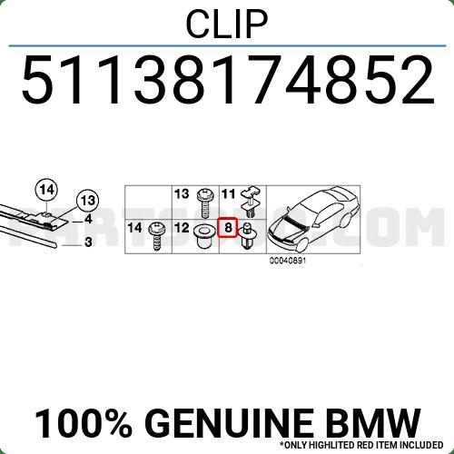 51138174852 BMW CLIP, Price: 1.24$, Weight: 0.001kg