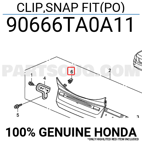 90666TA0A11 Honda CLIP,SNAP FIT(PO), Price: 1.34$, Weight
