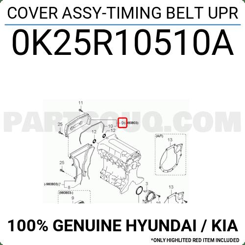 0K25R10510A Hyundai / KIA COVER ASSY-TIMING BELT UPR Price
