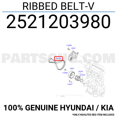 2521203980 Hyundai / KIA RIBBED BELT-V, Price: 23.09