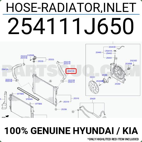 254111J650 Hyundai / KIA HOSE-RADIATOR,INLET, Price: 10.45