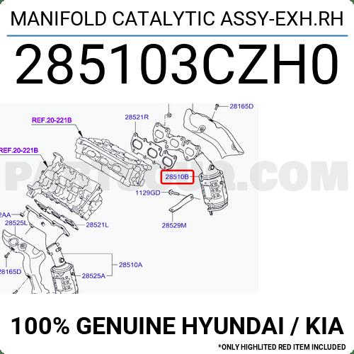 285103CZH0 Hyundai / KIA MANIFOLD CATALYTIC ASSY-EXH.RH