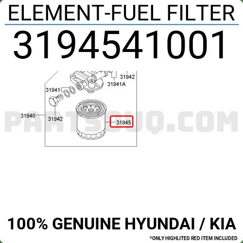 3194541002 Hyundai / KIA ELEMENT-FUEL FILTER, Price: 6.9