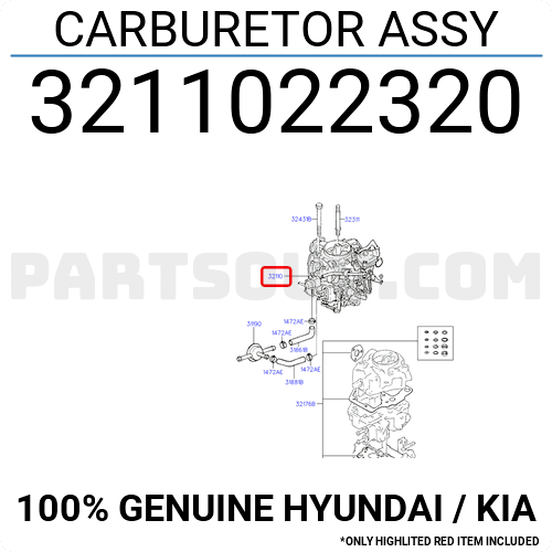 3211022320 Hyundai / KIA CARBURETOR ASSY, Price: 671.58