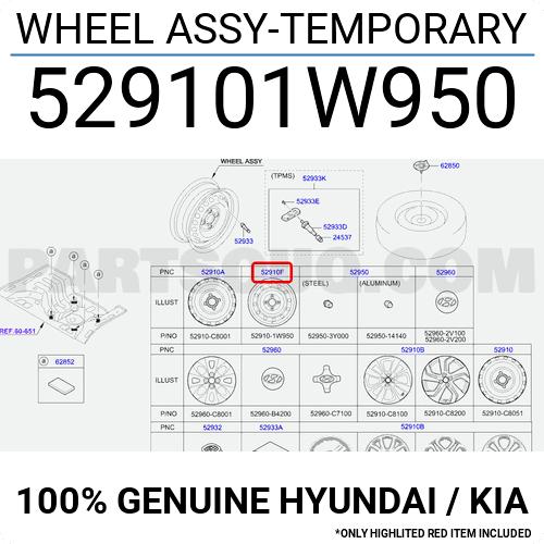 529101W950 Hyundai / KIA WHEEL ASSY-TEMPORARY, Price: 56