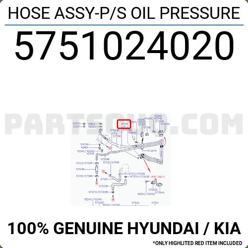 5751024020 Hyundai / KIA HOSE ASSY-P/S OIL PRESSURE, Price
