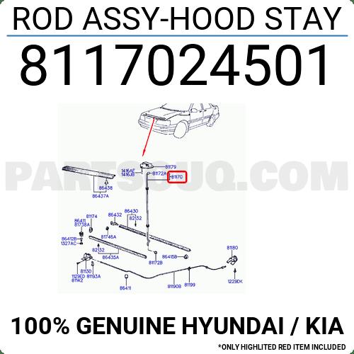 8117024501 Hyundai / KIA ROD ASSY-HOOD STAY, Price: 4.62