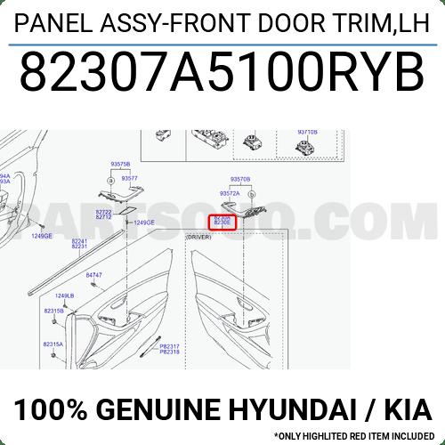 82307A5100RYB Hyundai / KIA PANEL ASSY-FRONT DOOR TRIM,LH