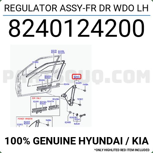 8240124200 Hyundai / KIA REGULATOR ASSY-FR DR WDO LH
