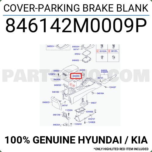 846142M0009P Hyundai / KIA COVER-PARKING BRAKE BLANK