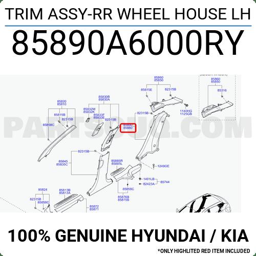85890A6000RY Hyundai / KIA TRIM ASSY-RR WHEEL HOUSE LH