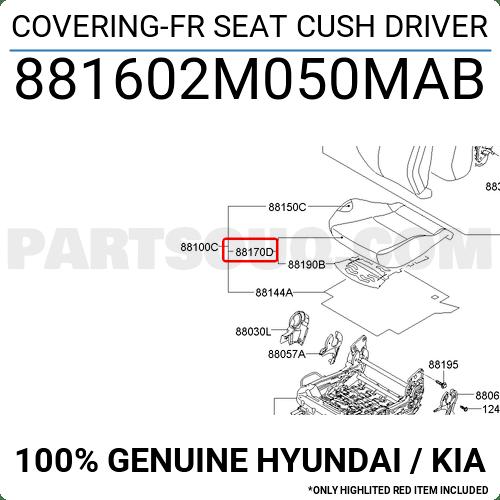 881602M050MAB Hyundai / KIA COVERING-FR SEAT CUSH DRIVER