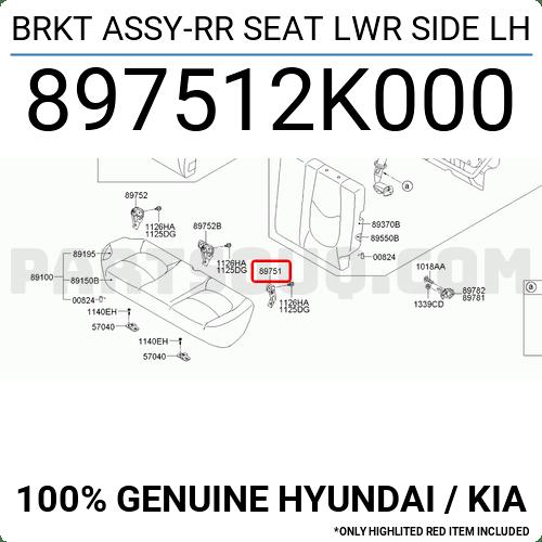 897512K000 Hyundai / KIA BRKT ASSY-RR SEAT LWR SIDE LH