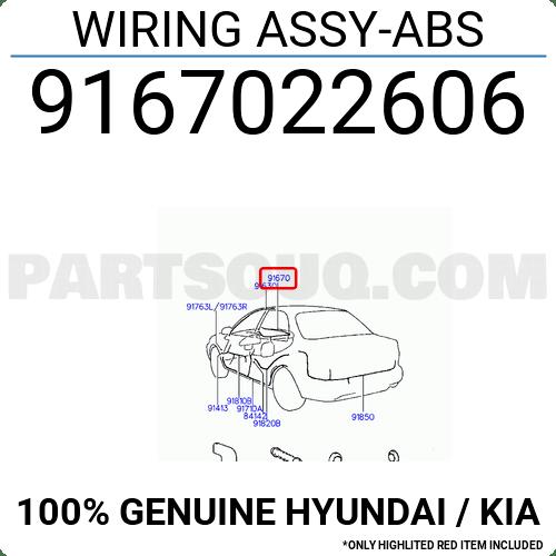 9167022606 Hyundai / KIA WIRING ASSY-ABS, Price: 172.39