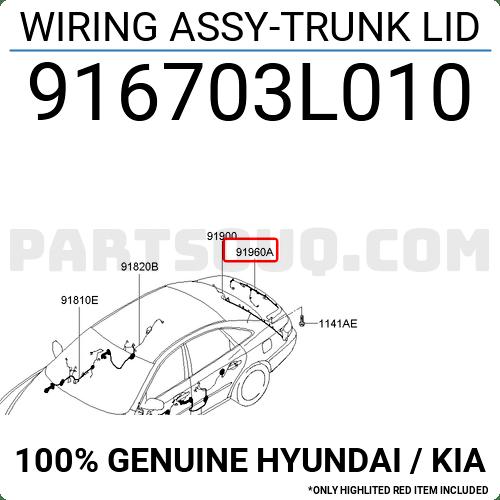 916703L010 Hyundai / KIA WIRING ASSY-TRUNK LID, Price: 39