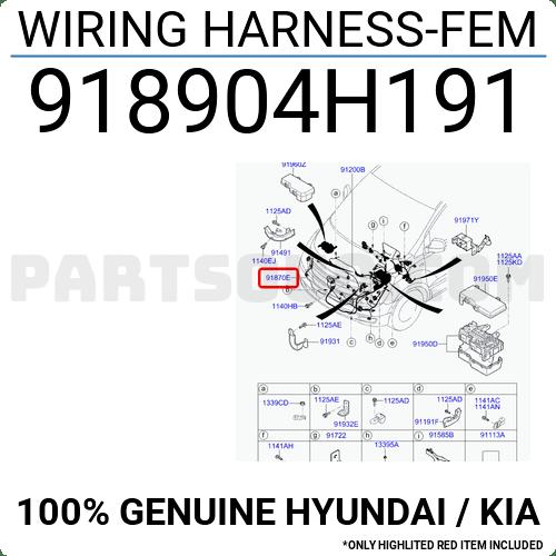 918904H191 Hyundai / KIA WIRING HARNESS-FEM, Price: 83.91