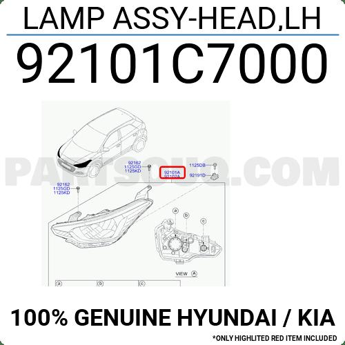 92101C7000 Hyundai / KIA LAMP ASSY-HEAD,LH, Price: 209.09