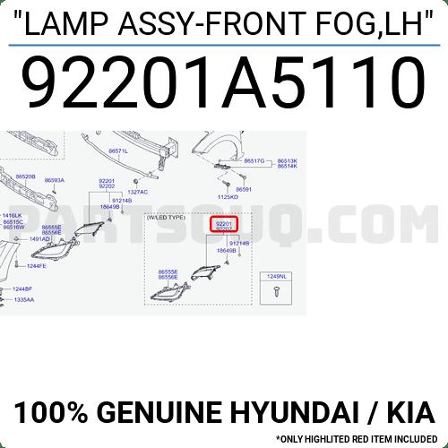 92201A5110 Hyundai / KIA LAMP ASSY-FRONT FOG,LH, Price