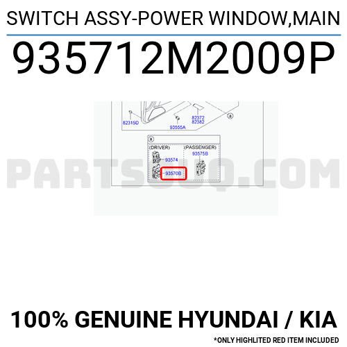 935712M2009P Hyundai / KIA SWITCH ASSY-POWER WINDOW,MAIN