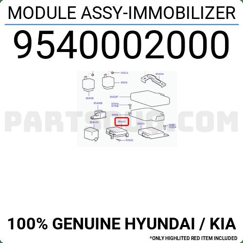 9540002000 Hyundai / KIA MODULE ASSY-IMMOBILIZER, Price