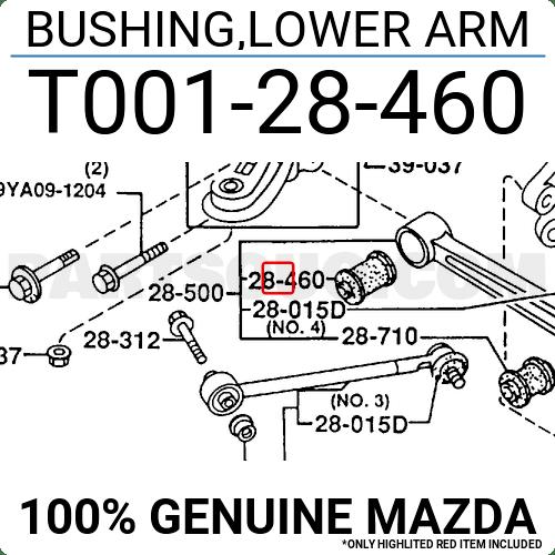 T00128460 Mazda BUSHING,LOWER ARM, Price: 28.61$, Weight