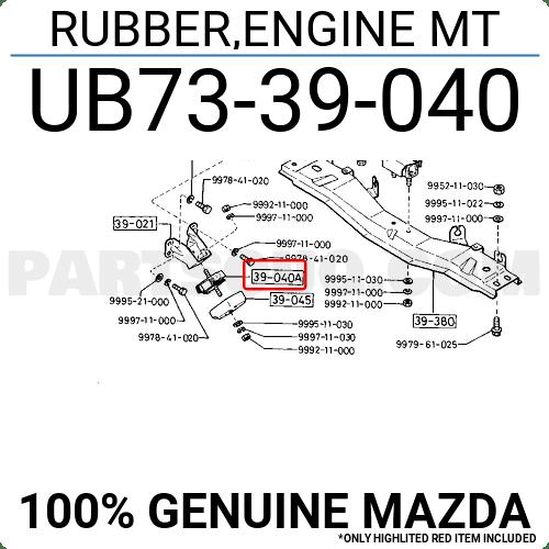 UB7339040 Mazda RUBBER,ENGINE MT, Price: 28.78$, Weight: 0
