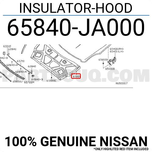 65840JA000 Nissan INSULATOR-HOOD, Price: 133.47$, Weight