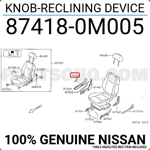 874180M005 Nissan KNOB-RECLINING DEVICE Price: 0.56
