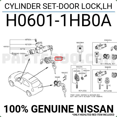 H06011HB0A Nissan CYLINDER SET-DOOR LOCK,LH, Price: 34.29