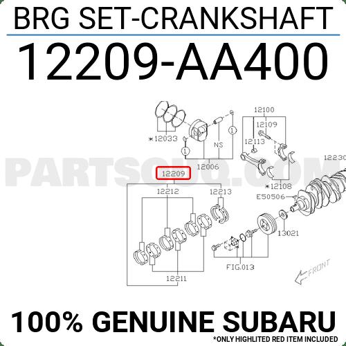 12209AA400 Subaru BRG SET-CRANKSHAFT, Price: 145.66