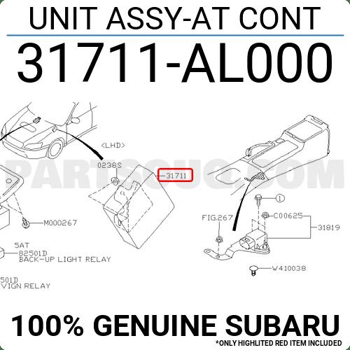 31711AL000 Subaru UNIT ASSY-AT CONT, Price: 766.92