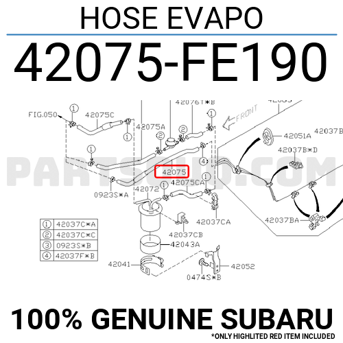 42075FE190 Subaru HOSE EVAPO, Price: 10.70$, Weight: 0