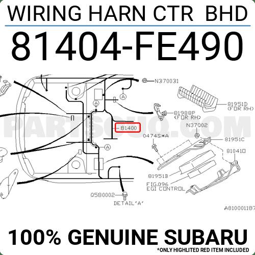 81404FE490 Subaru WIRING HARN CTR BHD, Price: 1509.57