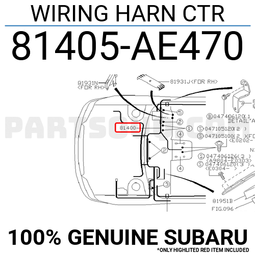 81405AE470 Subaru WIRING HARN CTR, Price: 1457.76$, Weight
