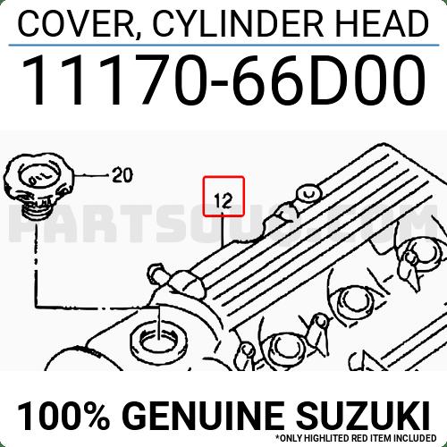 1117066D00 Suzuki COVER, CYLINDER HEAD, Price: 178.29