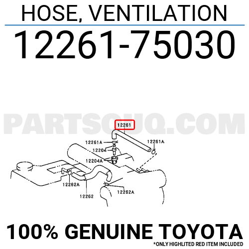 1226175030 Toyota HOSE, VENTILATION, Price: 8.45$, Weight