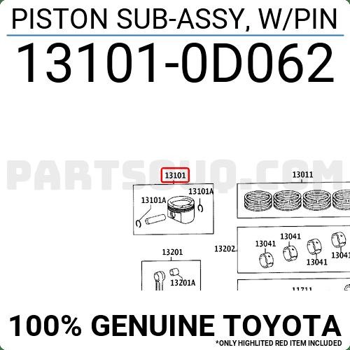 131010D062 Toyota PISTON SUB-ASSY, W/PIN, Price: 32.55
