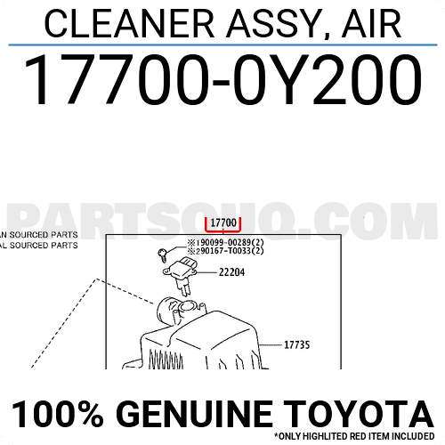 177000Y200 Toyota CLEANER ASSY, AIR, Price: 233.57