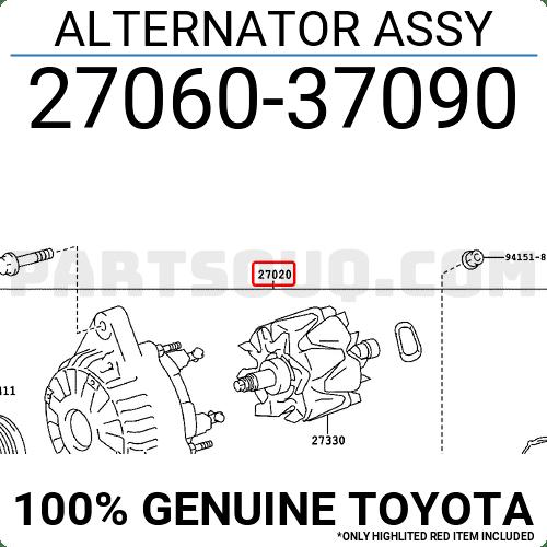 2706037090 Toyota ALTERNATOR ASSY Price: 554.73$, Weight