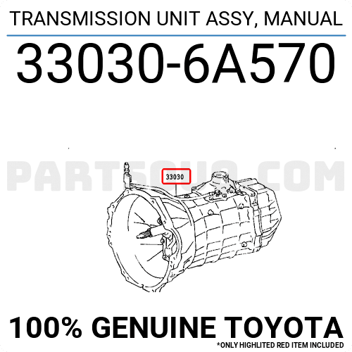 330306A570 Toyota TRANSMISSION UNIT ASSY, MANUAL Price